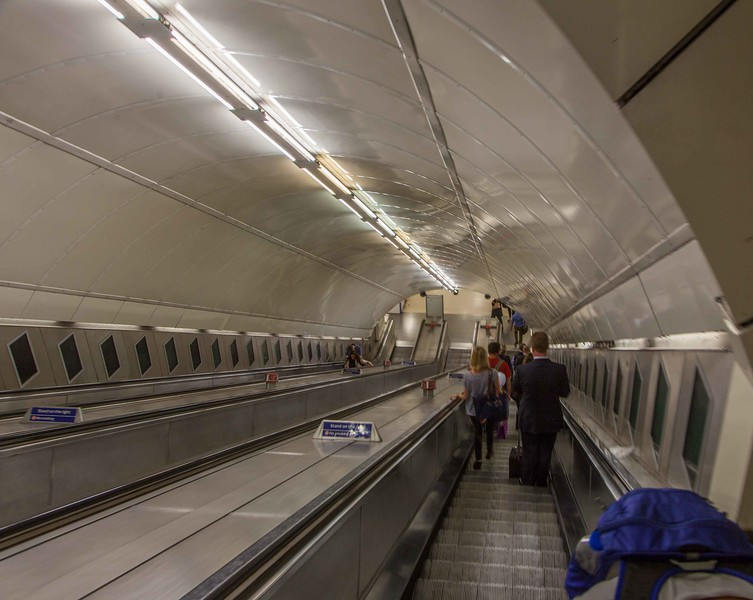 Many Underground stations are served with modern escalators, like this one. But not Camdentown.