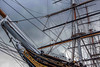 The Cutty Sark,. Note the hair held aloft by the figurehead. What does it signify? Dunno.