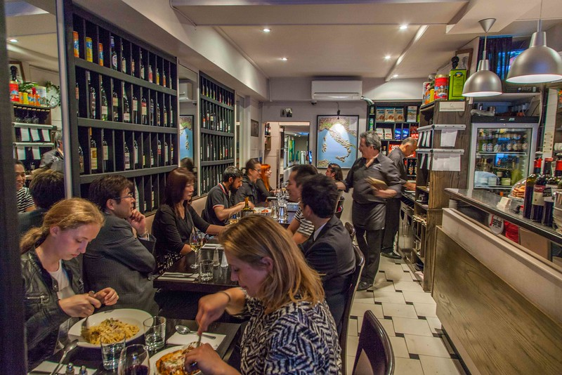 Inside our favorite Italian restaurant, the Cosmoba, in Holborn