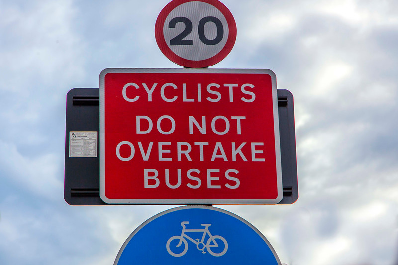 With a speed limit of only 12 mph, it's hard for a cyclist NOT to overtake a bus.