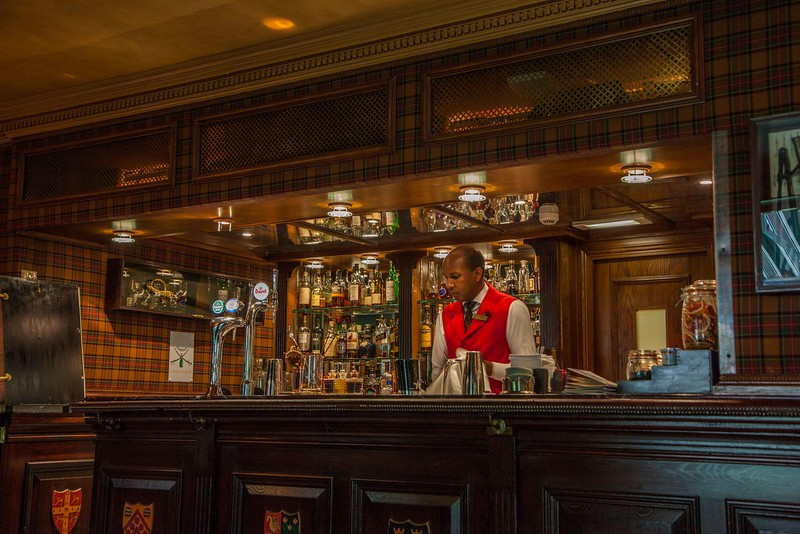 The bar, a great place after walking one's feet off all day