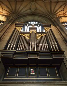 The pipe organ at Canterbury cathedral.