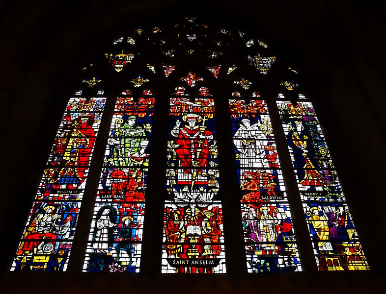 Stained glass of Saint Anselm at Canterbury Cathedral.