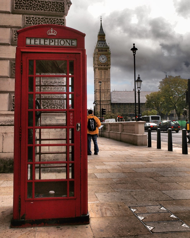 One of the many trademark red phone booths in London.