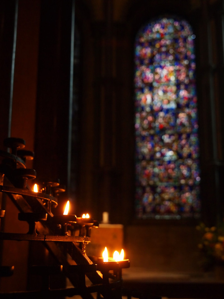 Candles burn at Canterbury Cathedral.