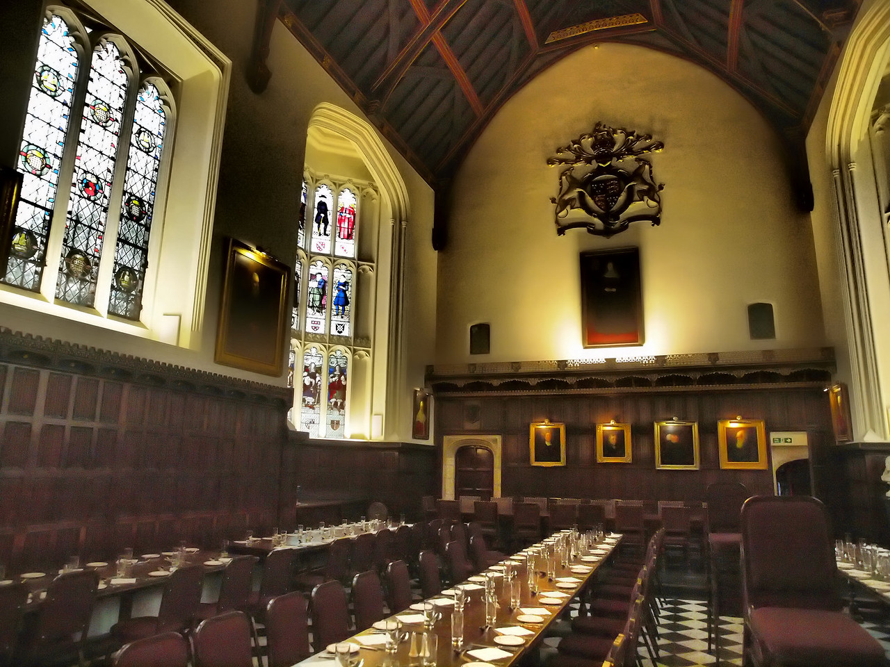 A dining hall in one of the Cambridge colleges.
