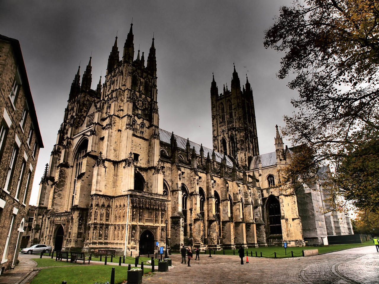 The exterior of Canterbury Cathedral.
