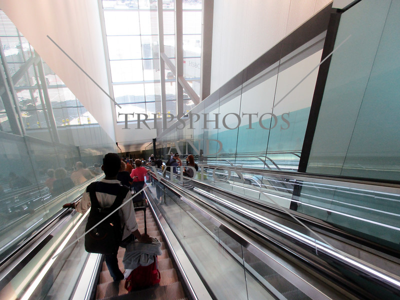 Escalator at Terminal 2 of Heathrow Airport in London, England.