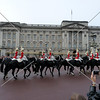Royal Guards on horseback to the Buckingham Palace during the changing of the guards ceremony in London, England.