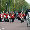 Royal Band marches in front of Buckingham Palace in London, England.