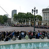 Visitors waiting for the change of guards ceremony in front of Buckingham Palace in London, England.