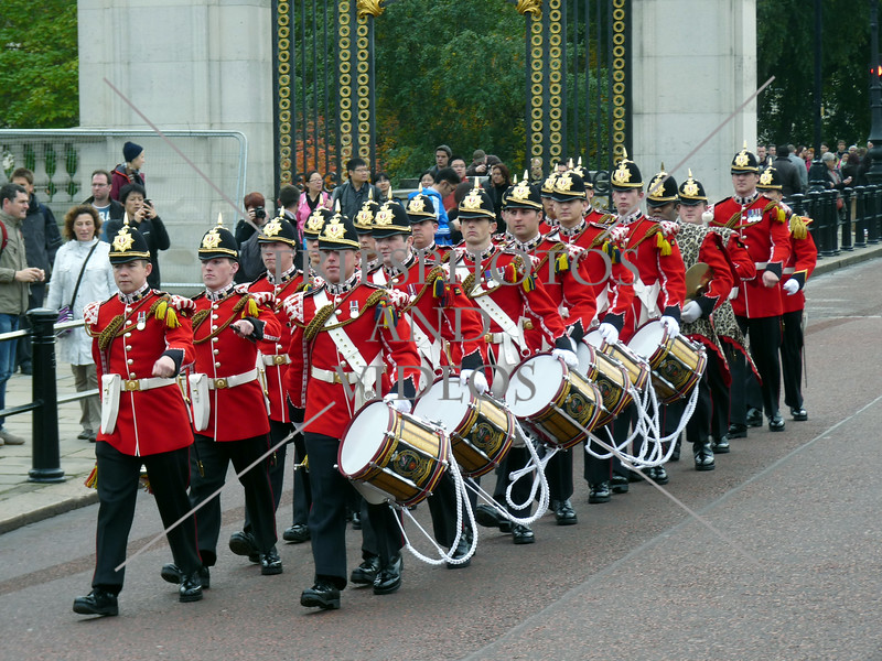 Royal guard band marching in London, England.