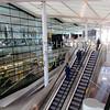 Floor escalators at Terminal 2 of Heathrow Airport in London, England.