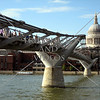 The Millennium bridge and the St Paul Cathedral in London, England.