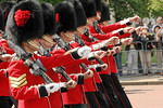 Changing of the guards at Buckingham Palace.