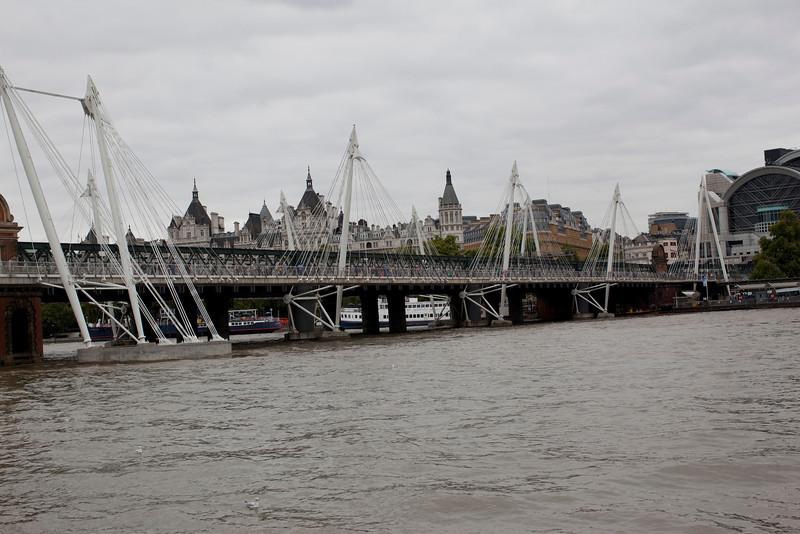 Jubilee Bridge (foot traffic only) sandwiching the railway bridge in the middle.