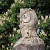 Owl carving at the top of the treehouse.