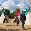 Playing in teepee land at Princess Diana Memorial Playground in Hyde Park.