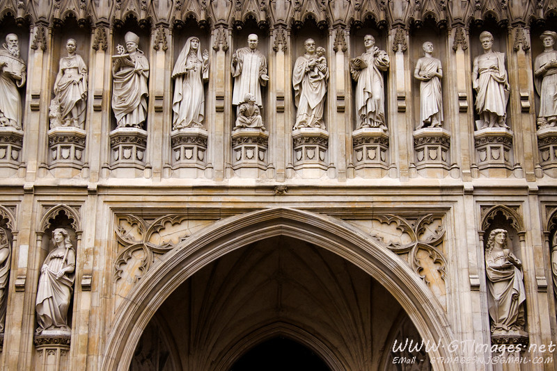 This is a close up image of the front entrance to Westminster Abbey. While this is the front entrance (by design, and church orientation) the main entrance, is currently at the left transcept (for tourism, and traffic purposes). There is a 16GP/person charge to get in. It includes a paper, and personal audio tour of the building. While the price sounds a little expensive, it is definitely worth it. The Abbey is supported entirely by the proceeds from the tour fees (no royal, or British government aid is provided). Private tours are also available for a slightly higher fee (we did not take a private tour). Oh, one more thing... I did not include any photos from the inside, as video and photography (even without flash) were stricly prohibited inside. The statue figures above the entrance are of noteable figures from history. Just to the left of the peak of the doorway arch is Martin Luther King, Jr. <br /> Next