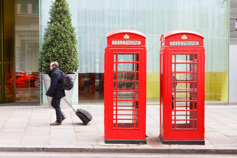 klassische, englische Telefonzellen