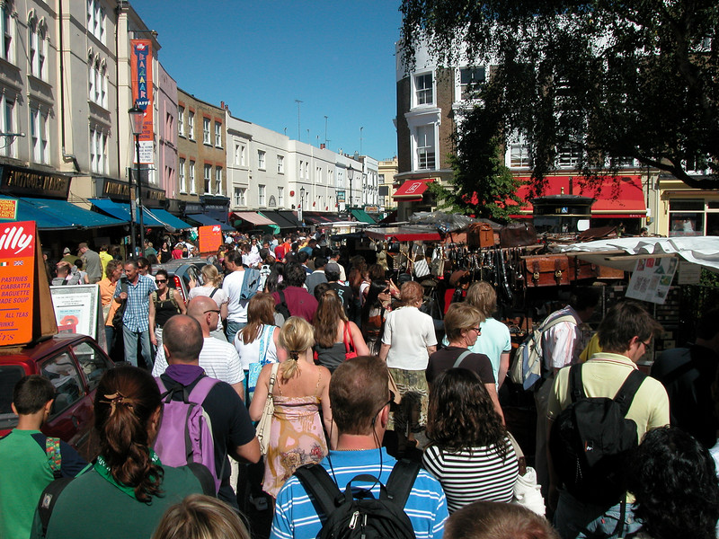 Portobello Road. Fully crowded. Wish I came here EARLIER in the morning.