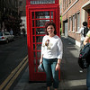 My wife Banu, in front of a real british legacy phone booth...