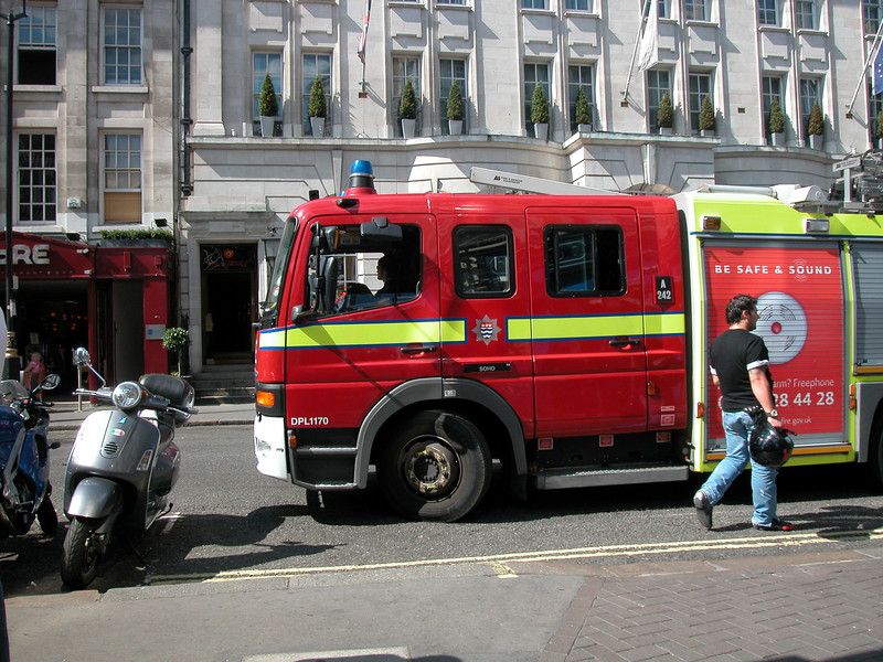 London firemen in action. No major blaze...