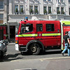 London firemen in action. No major blaze...