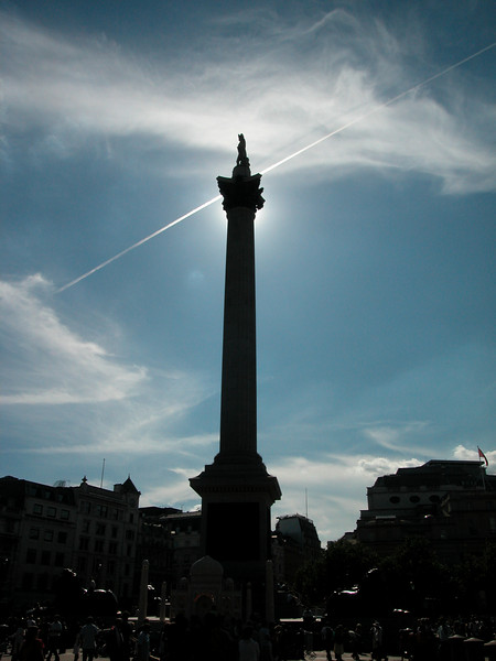 Nelsons' Column on Trafalgar Square. The sun is behind the top of the column, giving that special effect....