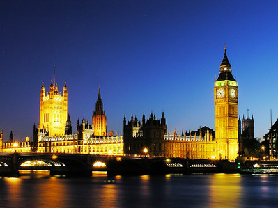 Big Ben, House of Parliament in sunset colors