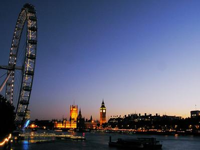 London eye, Big Ben in sunset colors.