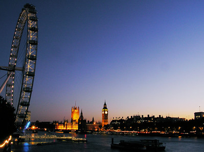 London eye, Big Ben in sunset colors.