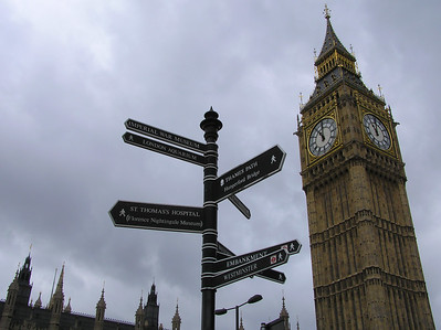 Big Ben and signs