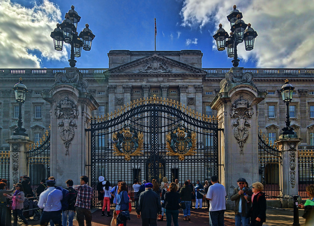Buckingham Palace, and the throngs
