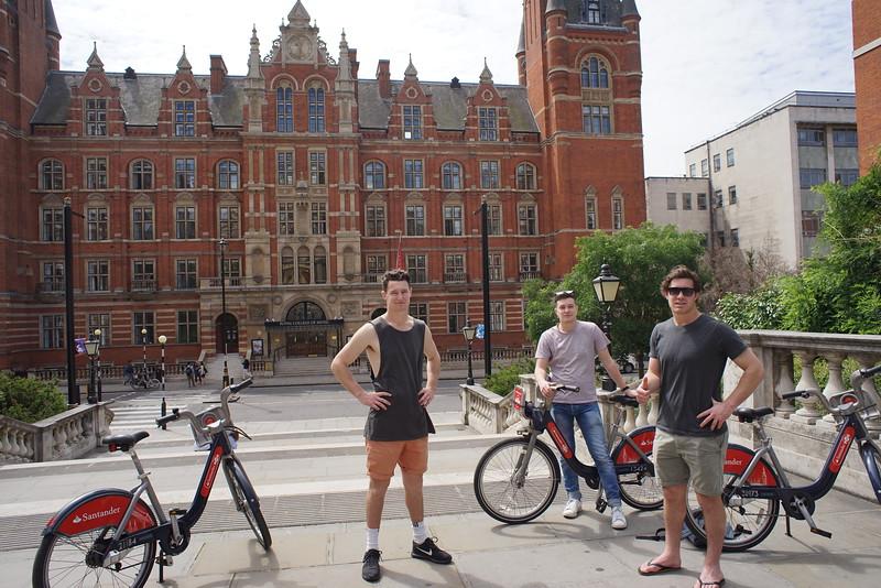 Biking behind Royal Albert Hall