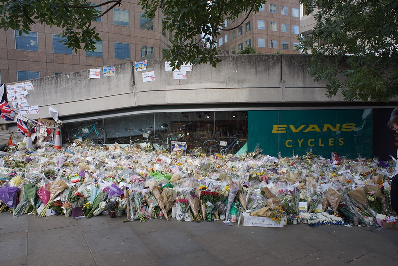 Flowers for the victims at Borough market