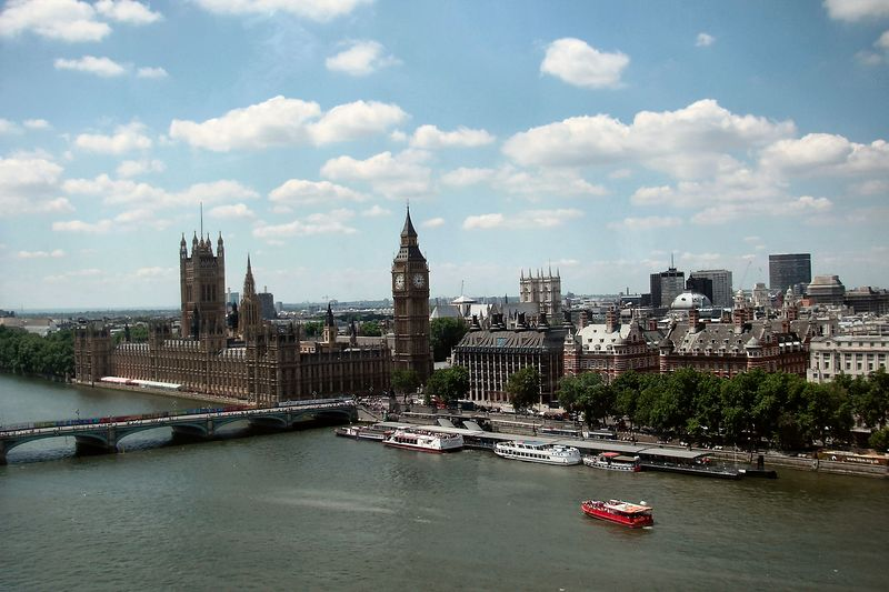 View from the London Eye, looking towards Big Ben and Parliament