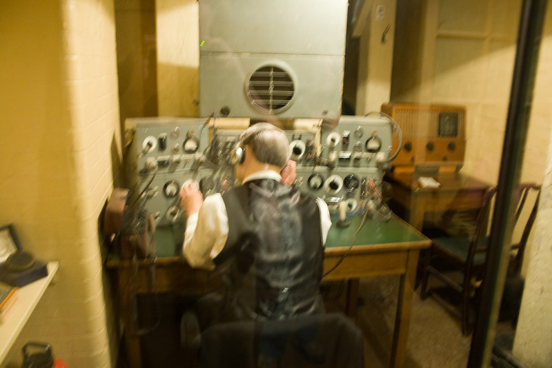 Churchill would frequently address the British people from his underground war rooms. This was a BBC radio control panel.