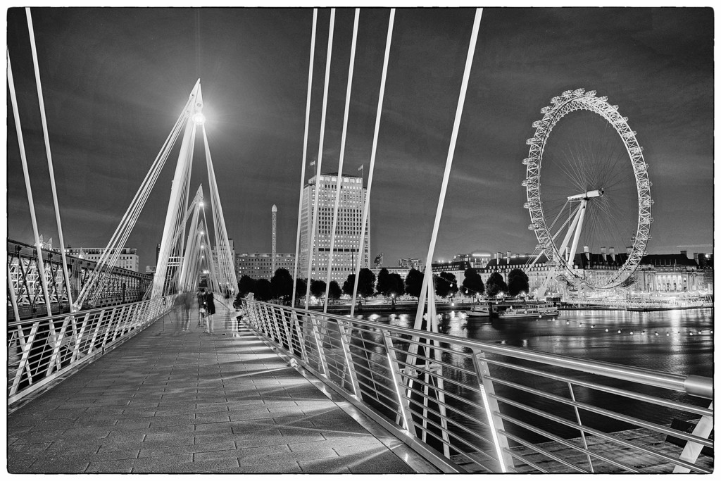 The London Eye, as seen from the Hungerford Bridge