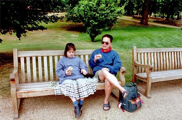 Lan and Tuan St James Park bench London England - Jun 96