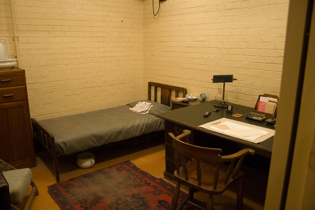 This was a typical bunk area for the workers in the War Rooms. Notice the bathroom facilities under the bed.