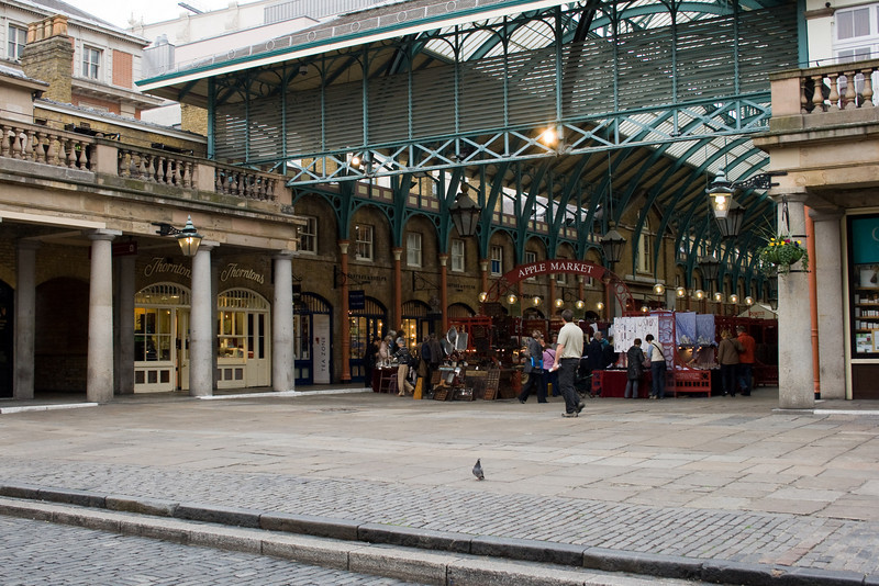This is the Covent Garden market place. During the time setting of My Fair Lady, this is where the flower sellers had their carts.