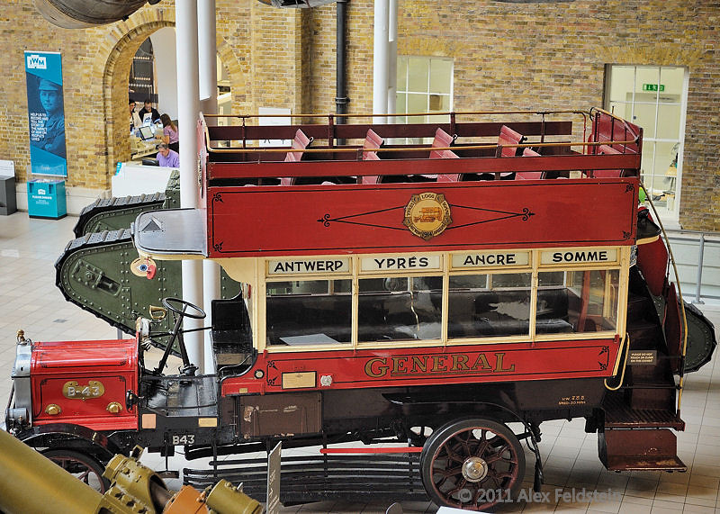 British B-Type motor bus: B43 'Ole Bill'<br /> WWI bus to take troops to the front in France<br /> Imperial War Museum