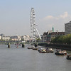 The Thames River and the London Eye ferris wheel.
