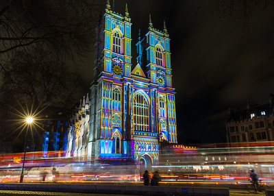 Westminster Abbey at night, illuminated for Lumiere London Lights Festival. Long exposure with light trails