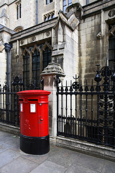 Red post box nearby Westminster Abbey