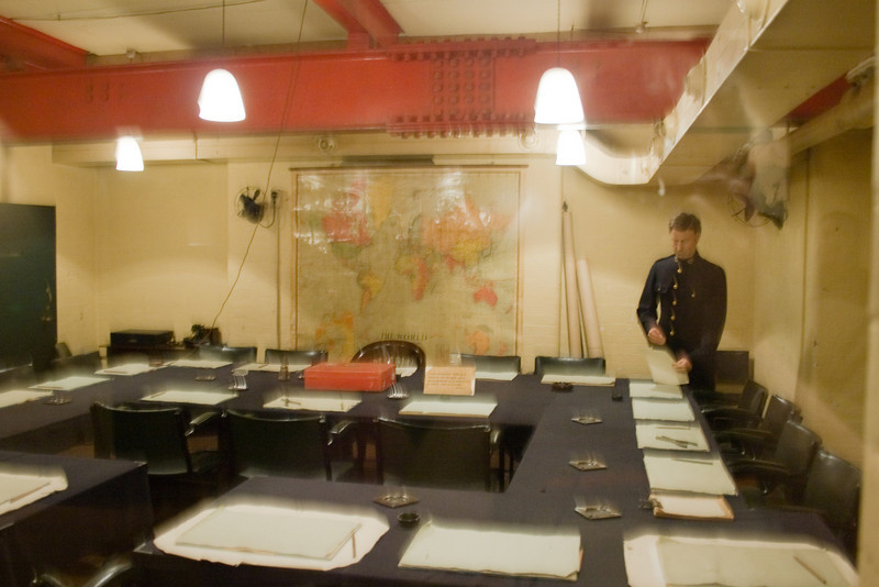 Visiting Winston Churchill's underground War Rooms during WW II is an unforgettable experience. I had to photograph without flash and through glass. So some shots may not be clear. This is the main meeting room in the underground bunker.
