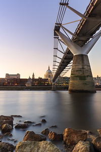 London sunset - view across the River Thames, Millennium Bridge and St Paul's Cathedral