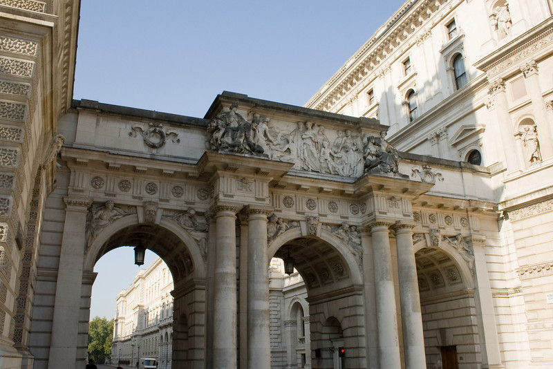 This arch leads to a street that served as Churchill's War Rooms during WW II and St. James Park.