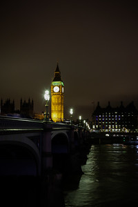 Big Ben and the Thames River, Night.